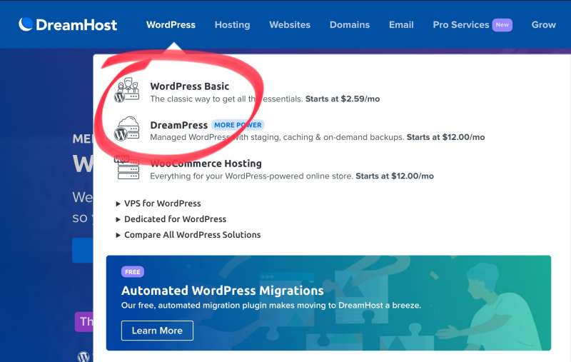 Dreamhost home page with the WordPress hosting options, WordPress Basic and Dreampress circled.