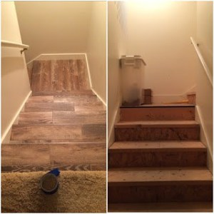 Basement - before and after stairs
