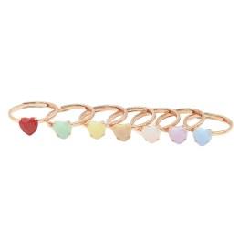 Anello argento solitario cuore pietra opale