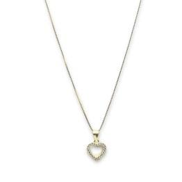 collana argento 925 gold cuore zirconi bianchi e neri