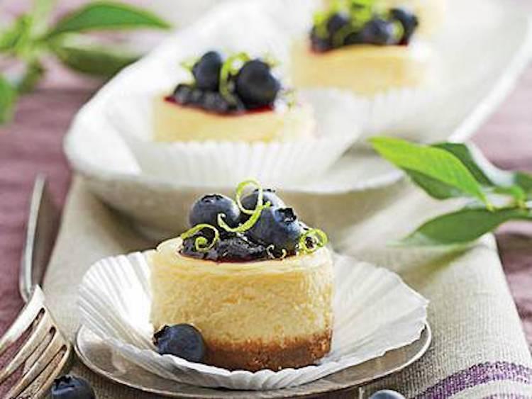 Petite Blueberry Cheesecakes