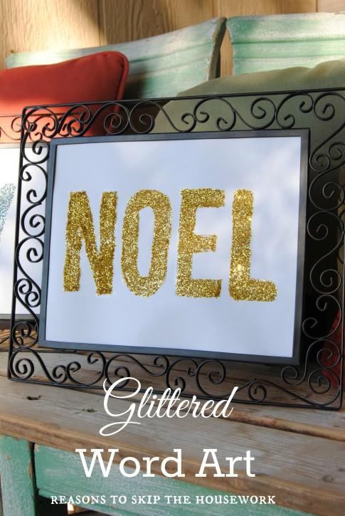 glittered word art