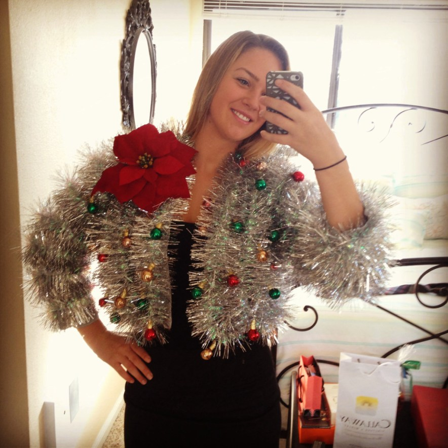 Tinsel Sweater: If you are attending an ugly Christmas sweater party this year, we have got you covered! Here are 25 Ugly Christmas Sweater Ideas for you to use as inspiration.