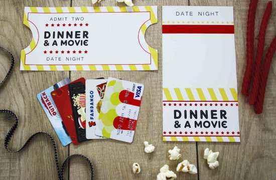 Dinner and a Movie: Gift Cards can sometimes be a boring thing to give but a great thing to receive. So why not spice up the way you give them!