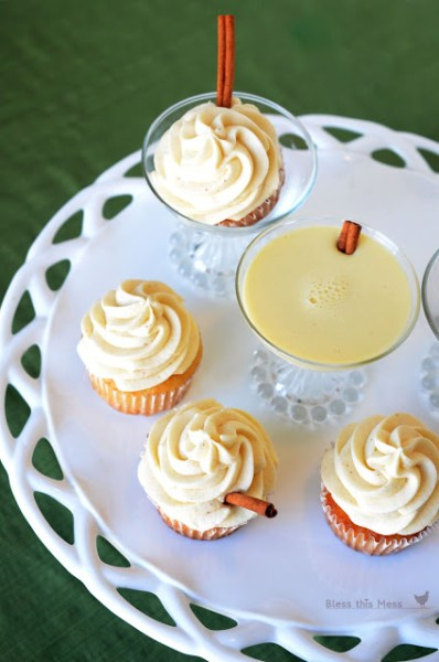 Eggnog Cupcakes: Eggnog is a favorite seasonal drink, but there are so many ways to bake with eggnog!