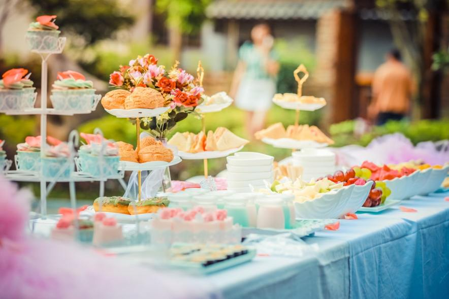 pastries set up in a table outdoors