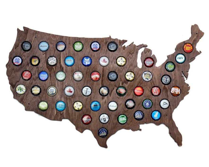 USA Beer Cap Map with Dark Stain - Craft Beer Cap Holder