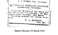 Snippet from Hobart Mercury dated March 14 1923, Depicting a General Meeting Notice