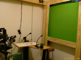 New Studio Arrangement with Cyclorama and Desk (Thanks to Paul VK7FPAH) with Chroma-Key Screen (Thanks to IKEA!)