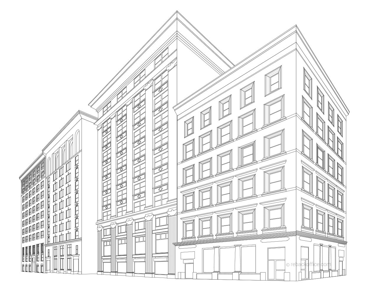Rebackoffice Building Line Art