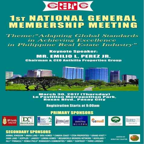 REBAP Makati members joined the 1st REBAP National General Membership Meeting NGMM at Le Pavillon Pasay City last March 30, 2017. REBAP Makati Board Adviser CRB Emilio Perez Jr. EPJ, Chairman and CEO of Anthilla Properties Group, was our Keynote Speaker.