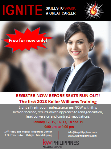 REBAP members attended KW Philippines Keller Williams 6 Day Ignite Power Session last January 12 - 19, 2018 at San Miguel Properties Center Ortigas.