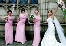 Bride and Bridesmaids at Ashfield House. Make up and hair by www.rebeccaanderton.co.uk