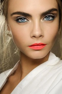 Prom Hair and Makeup Inspiration - Bright coral lipstick from Rebecca Loves Weddings www.rebeccaanderton.co.uk
