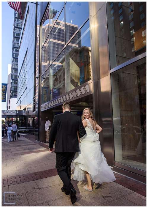 just married on urban street