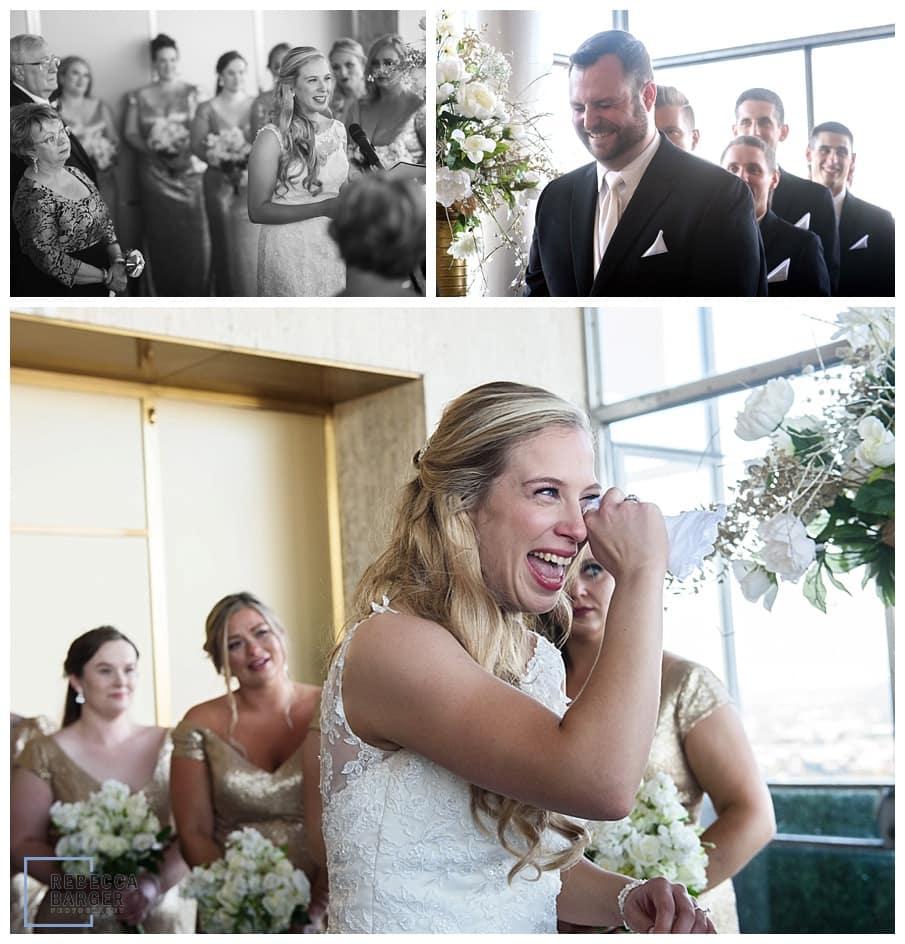 gorgeous bride cries during wedding ceremony