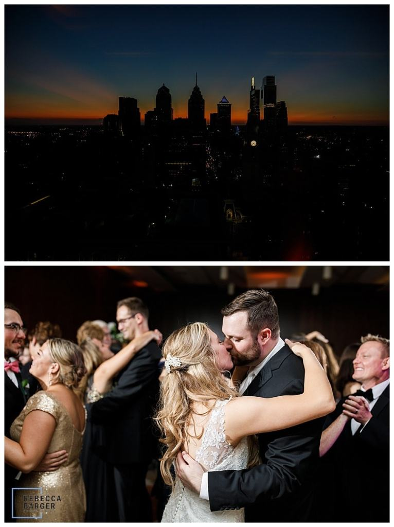 sunset and end of wedding reception