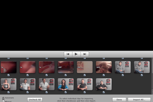 The import window in IMovie