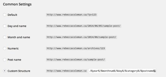permalink structure wordpress