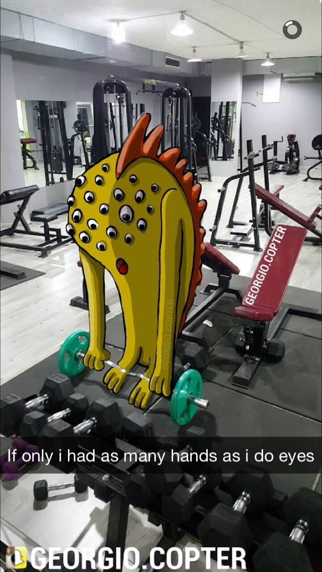georgio copter's multi-eyed monster lifts weights at the gym