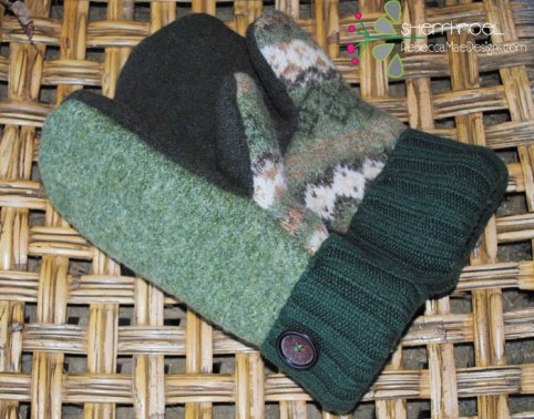 green wool mittens