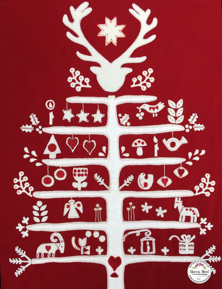 Scandinavian Christmas Tree Block of the month wool quilt