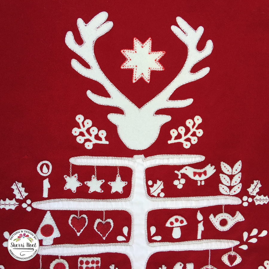 Scandinavian Christmas Tree Block of the month wool quilt from Rebecca Mae Designs
