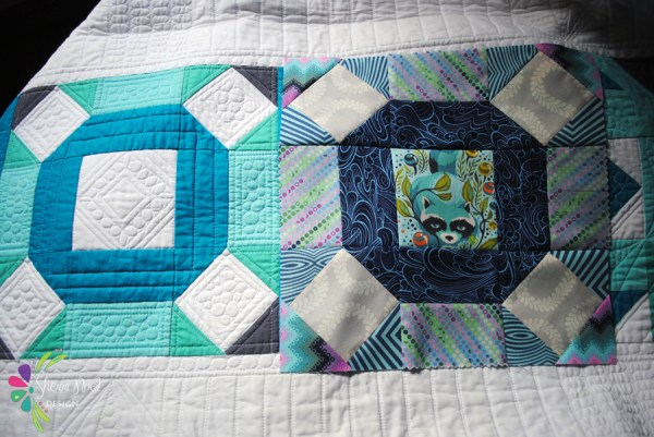 nine patch quilt block in kona cotton and tula pink fabric