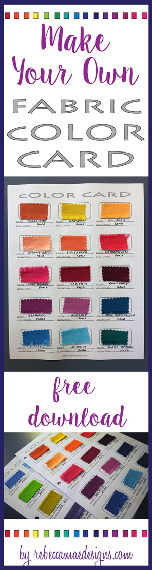 Diy fabric color card for sewing and quilting projects