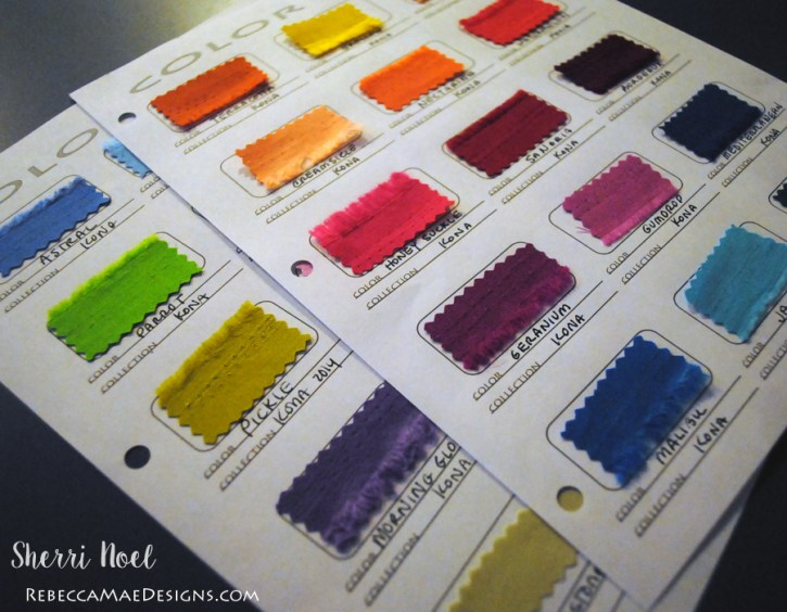 diy color card for tracking fabric ~ sewing project