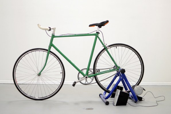 Biking to Hear Bike, bike stand, generator, speakers, 2011