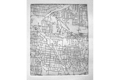 Geographic Geneology, Webster Groves etching 9 x 12 2007