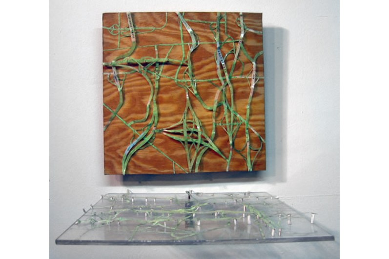 St. Louis Highways as Forests collage with cut maps on board and plexiglass, 2 panels, each 12 x 12 2007