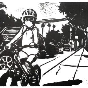 Pandemic Linocut: Ride