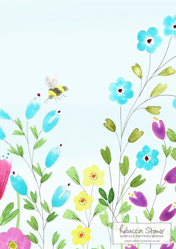 Summer Meadow Wallpaper - Bumble Bee - by Rebecca Stoner