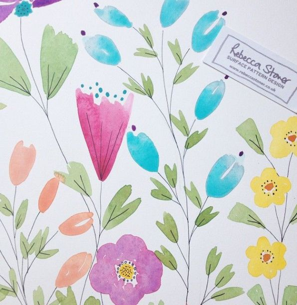 Summer Meadow Wallpaper - paintings - by Rebecca Stoner