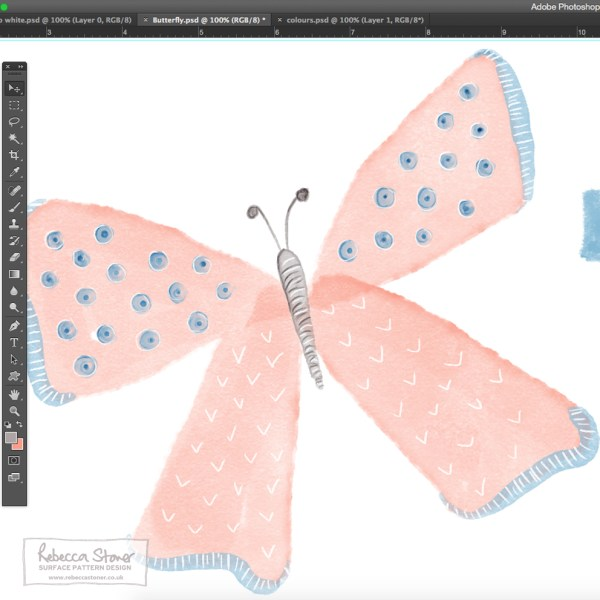 Butterfly watercolour brushes by Rebecca Stoner