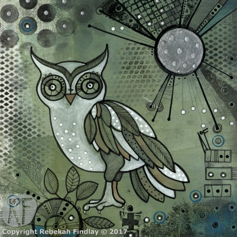 Owl & The Silver Moon - SOLD