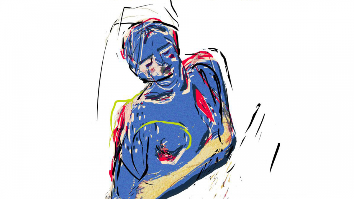 An abstract painting of a woman.