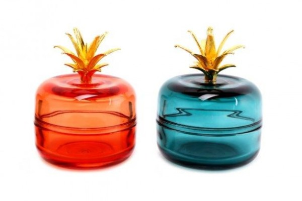 Glass Apple Trinket Pots