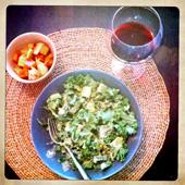 kale salad, roasted root veg, glass of Bordeaux