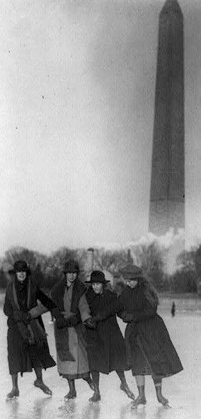 """Four girls ice skating, with Washington Monument in background"" - Library of Congress collection - http://www.loc.gov/pictures/item/93515696/"