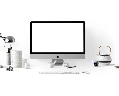 Home-Office Stilleben in weiss von Pexels