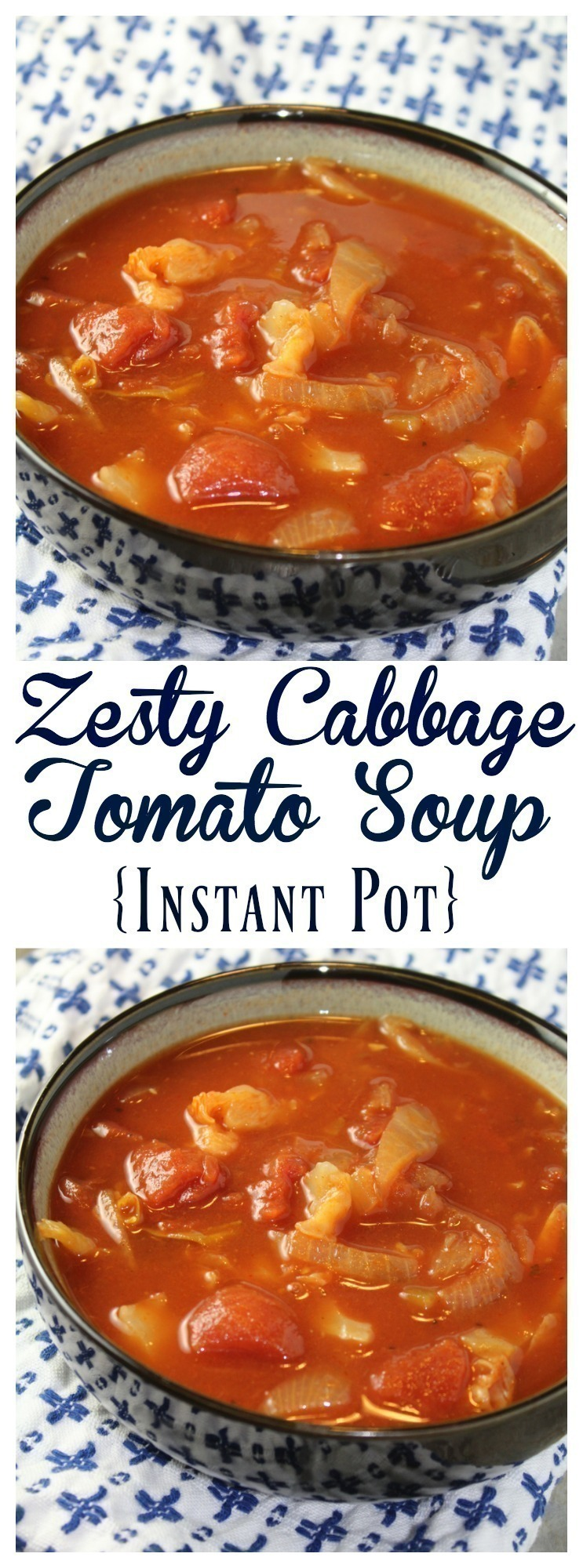 Throw together just a few simple ingredients to make this hearty and filling Zesty Cabbage Tomato Soup in your Instant Pot!