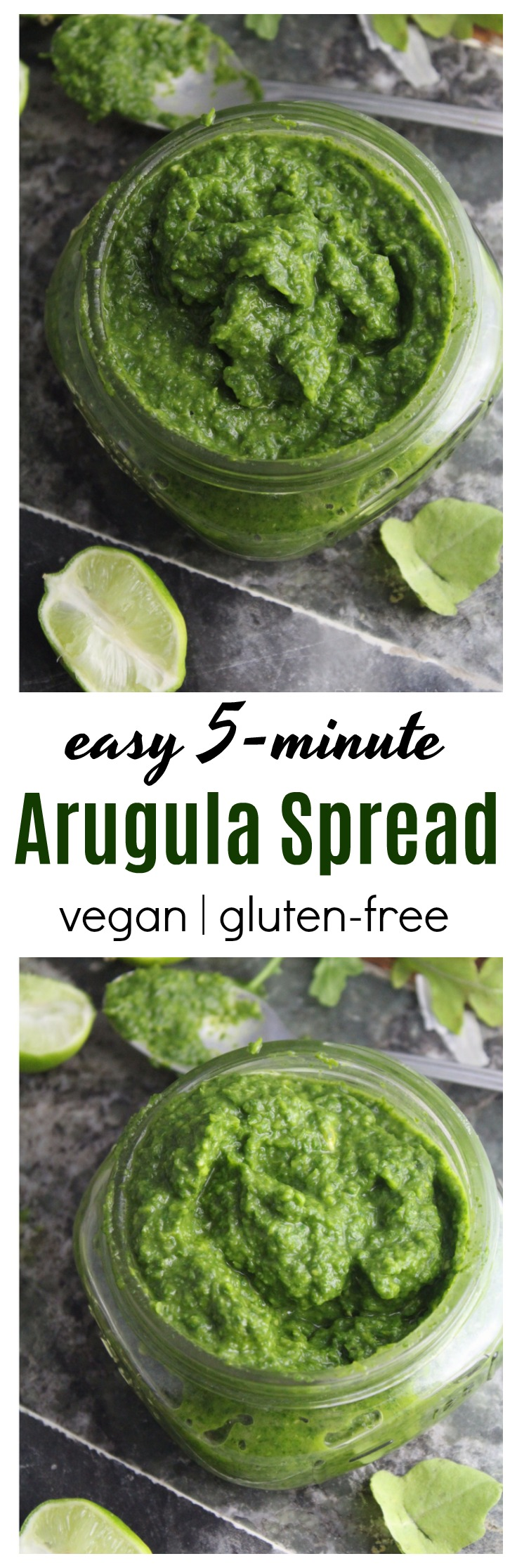Avocado and cilantro balance out this peppery arugula making an excellent spread that's wonderful on sandwiches or stirred into pasta sauce!  #vegan #glutenfree