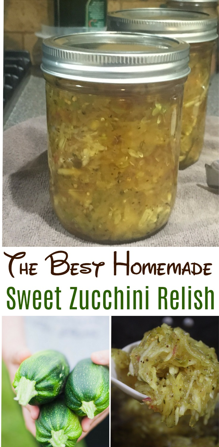 The BEST recipe for sweet zucchini relish and a great way to us up an abundance of zucchini from the garden! This relish is delicious on hamburgers, brats and even baked potatoes! - it'll turn out just as incredible. #zucchini #relish #canning