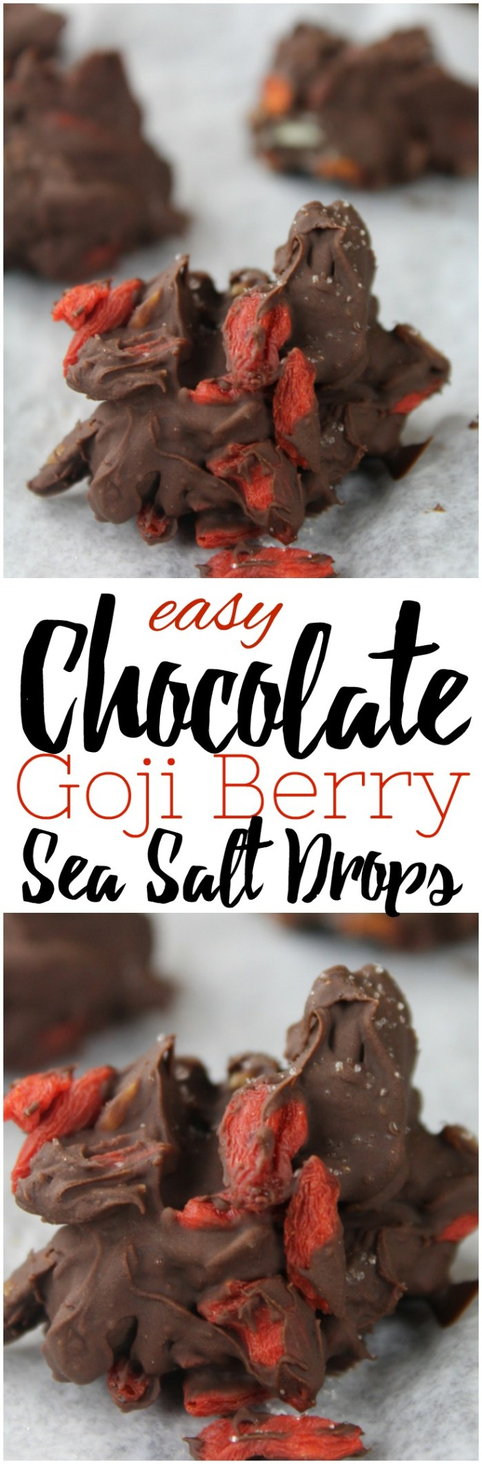These easy, no bake Chocolate Goji Berry Sea Salt Drops are a decadent chocolate treat with just four simple ingredients that take just minutes to make!  #gojiberry #chocolate #holidays #nobake