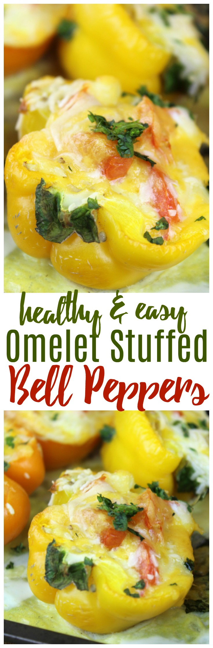 Peppers are the perfect vegetable for an inside-out omelet!  These stuffed pepper omelets are not only easy to make, they are incredibly healthy, too!  #healthy #peppers #omelet #breakfast