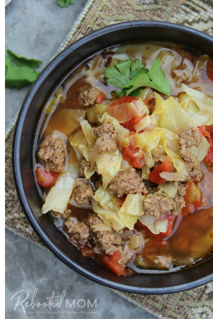 Simple ingredients come together easily and quickly in this Beef & Cabbage Soup, made in the Instant Pot! #InstantPot #Cabbage #Beef #Soup #PressureCooker #healthy