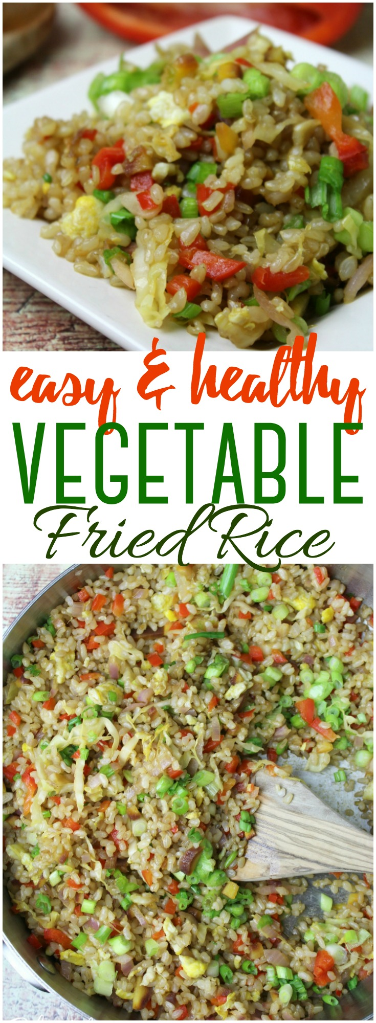 Combine a few simple vegetables with scrambled eggs and rice in this easy, healthy vegetable fried rice seasoned - it's soy-free and the perfect way to use up your odds and ends!  #friedrice #vegetables #easy #healthy #sidedish #soyfree #meatless
